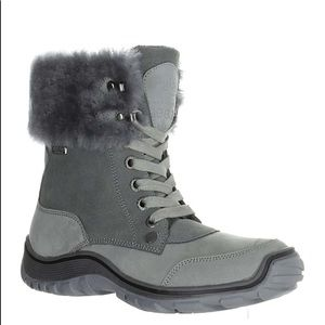 pajar abbie boot gray fur suede lace up ankle boot